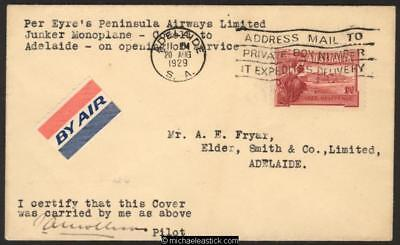 19 Aug 1929, Eyre Peninsula Airways, Junkers F13, typed note Cowell - Adelaide