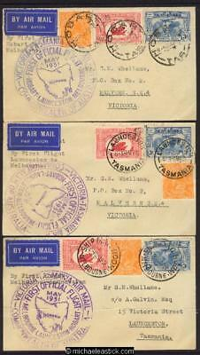 1 May 1931, first flight Hobart - Melbourne and return, set of 3 covers
