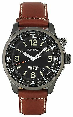 Seiko Men's Black Dial Kinetic Leather Strap Watch - From the Argos Shop on ebay
