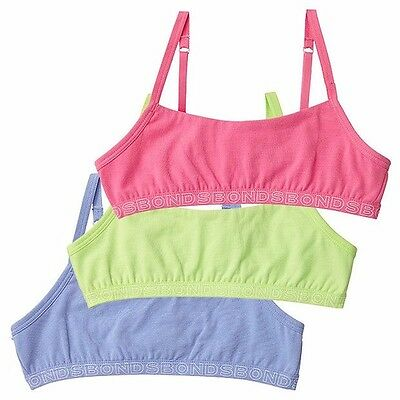 3 PACK x BONDS HIPSTER CROP TOP Training Bra Underwear Girls Kids Wirefree SALE