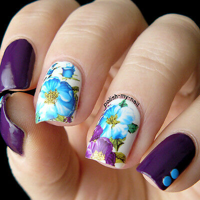 Nail Art Water Decals Transfer Stickers Colorful Rose Flower Manicure Decoration
