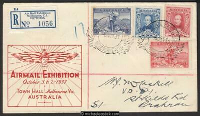 5 Oct 1937, Air Mail Exhibition, Melbourne, cover, registered mail 6OCT37