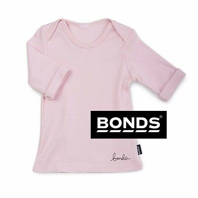 BONDS BABY GIRLS LONG SLEEVE TOP Newborn Newbie 0000 Pink 3/4 Tee Basics SALE