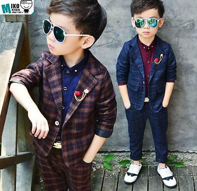 2pcs Kids Toddlers Boys Party Prom Check Blazer Suit Jacket Casual Wedding Suit