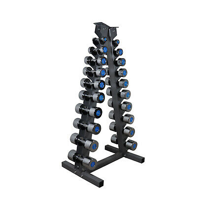 1kg - 10kg Chrome Fixed Solid Dumbbell & A Frame Dumbell Rack - Total 123kg