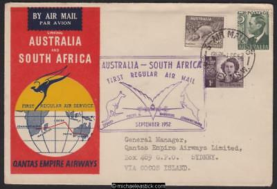 1 Sept 1952, Cocos boomerang cover- first Qantas Australia - South Africa flight