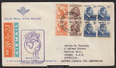 7 Dec 1951, KLM airmail service from Sydney to Amsterdam