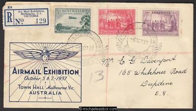 5 Oct 1937, Air Mail Exhibition, Melbourne, registered mail 6OCT37