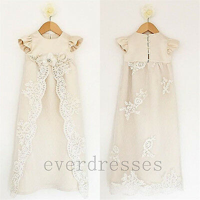 New Born Baby Girl Christening Baptism Formal Dress Gown Lace Beaded 3-6 Months