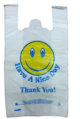 "Plastic Carrier Bags Vest Thank You Jumbo 12"" x 18"" x 21"" Large Size 24Mu HND"