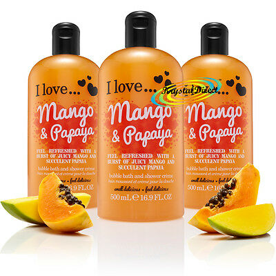 3x I Love... MANGO & PAPAYA Bubble Bath Shower Creme Gel 500ml