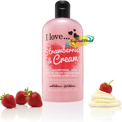 I Love... STRAWBERRIES & CREAM Bubble Bath Shower Creme Gel 500ml