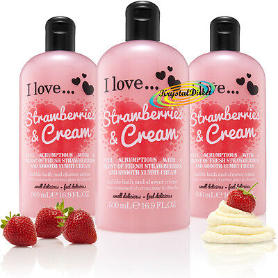 3x I Love... STRAWBERRIES & CREAM Bubble Bath Shower Creme Gel 500ml