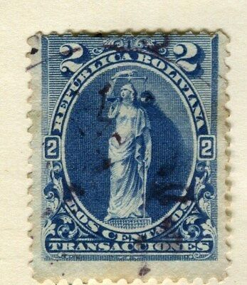 BOLIVIA;  1880s early classic perf issue fine used 2c. value