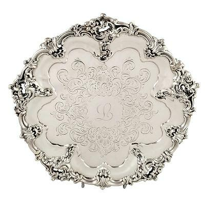 """Lovely Antique Victorian Sterling Silver 8"""" Tray/salver - 1855 'l'"""