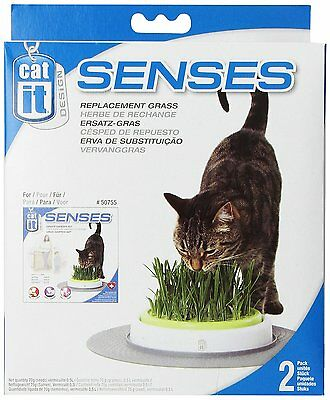 Cat Senses Replacement Grass Refill Kit for Indoor Pet Cats - Pack of 2