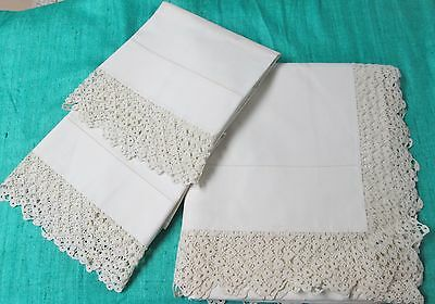 Antique Queen Sheet & Pillow Case Set Ornate Hand Crocheted Trim Gorgeous!