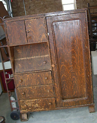 vintage wood wardrobe chest of drawers secretary WATHENA KANSAS