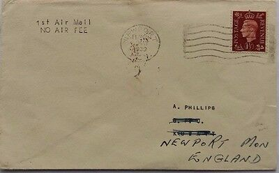 Great Britain 1939 Cover Sent First Reduced Air Rate Newport To Kuwait Via Iraq