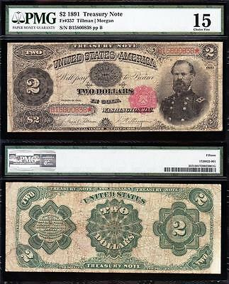 "NICE *RARE* Choice Fine+ 1891 $2 ""McPHERSON"" Treasury Note! PMG 15! B15800838"