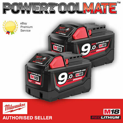 Genuine Milwaukee M18B9 9.0Ah 18V Li-Ion High Demand Battery *TWIN PACK*