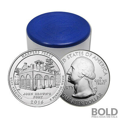 2016 Silver 5 oz Coin ATB Harpers Ferry NP West Virginia Roll (10 Coin)