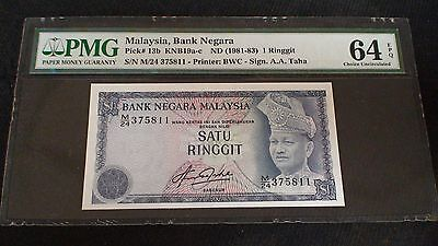 1981-83 Bank Negara Malaysia 1 Ringgit Note PMG CHOICE UNC 64 EPQ PRICED TO SELL
