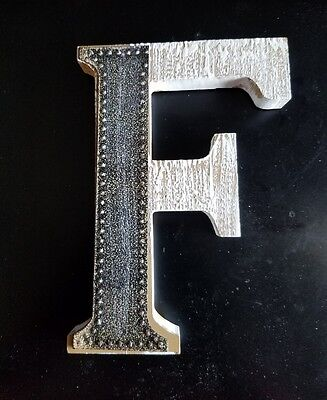 Wood & metal capital Letter F wall decor 6 1/4 X 4 1/2 inc.  marquee craft