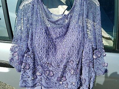 Cameron Blake Evening Gown Formal Mother of Bride Blue Beaded Size 18 / 20