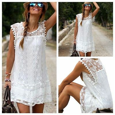US Women Summer Lace Sleeveless Party Evening Cocktail Beach Casual Mini Dress