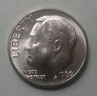1960 D Roosevelt Dime BU Uncirculated 90% Silver US Coin TUCK From Original Roll