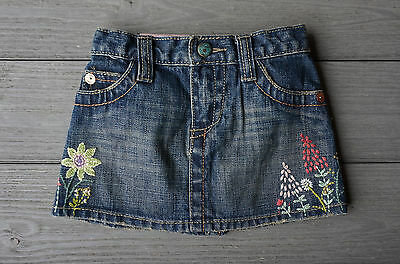 Baby Gap baby toddler girls jean denim skirt size 12-18 m embroidered floral NWT