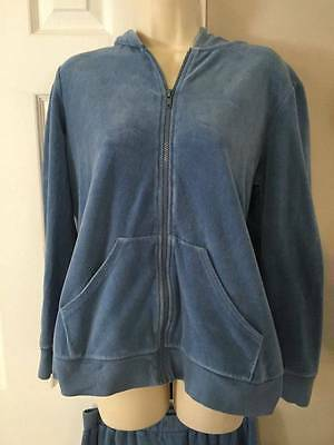 Motherhood Maternity Blue Velour Zip Hoodie Pants Set Outfit EUC Size Medium M
