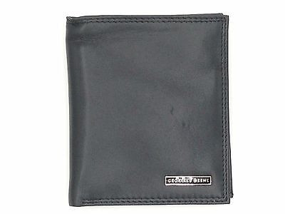 $75 Geoffrey Beene Men's Black Leather 6Cc Double Bifold Travel Wallet Organizer