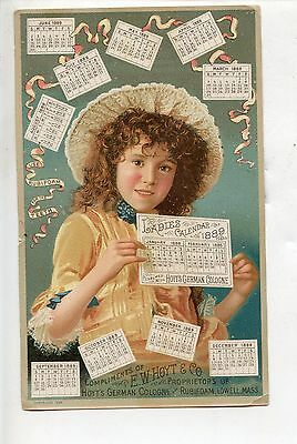 Hoyt's German Cologne Victorian Trade Card, Lowell, MA, 1889 Calendar, Rubifoam