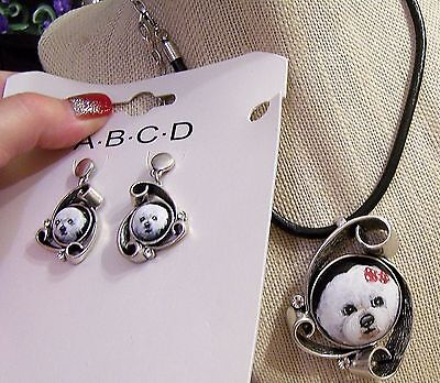 hand painted Bichon Frise on blackstone crystal leather cord pendant earring set