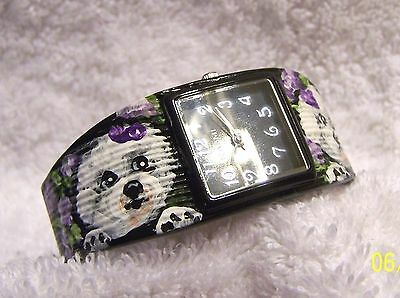 hand painted Bichon Frise  on metal cuff Narmi watch