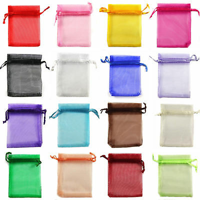 10/50/100 7x9 cm LUXURY Organza Gift Bags Jewellery Pouch Wedding Party Favour