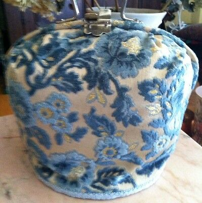 Antique Vintage French Chenille Carpet Shabby Tea Cozy Warmer ~ Rare