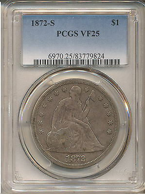 1872-S Seated Liberty Dollar Vf25 Pcgs   Total Mintage 9,000