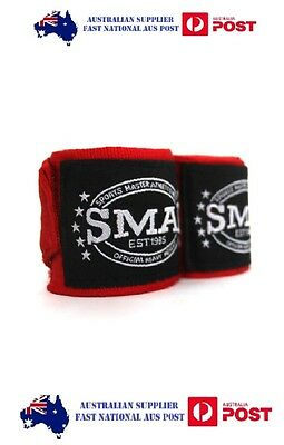 SMAI hand wraps 108inch - RED - FREE POST AUS WIDE! BOXING, MUAY THAI, MMA, UFC