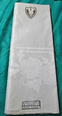 Antique Irish Linen Double Damask Tablecloth Unused w/ Labels IN CRUCE SPERO