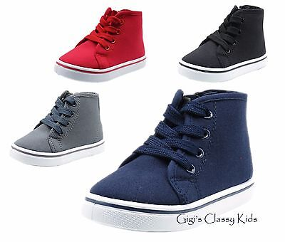 New Baby Toddler Boys Girls Tennis Shoes Canvas High Top Sneakers Casual Laces