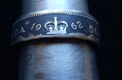 1962 CANADIAN COIN RING TONED ANTIQUE FINISH Sized from an 11 up to a 16.