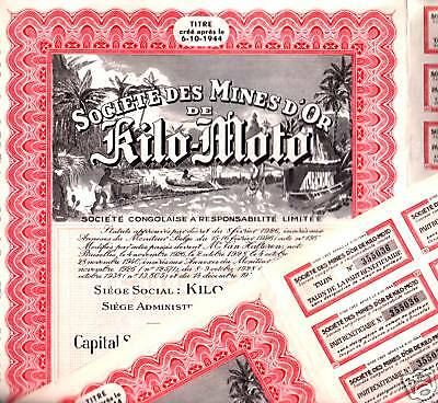 RIVETING RED RARE 1944 CONGO GOLD MINING BOND w BLACK MINERS/COUPONS $70 on Ebay