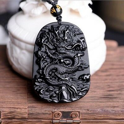 Lucky Blessing Beads Pendant Necklace Natural Black Obsidian Hand Carved Dragon