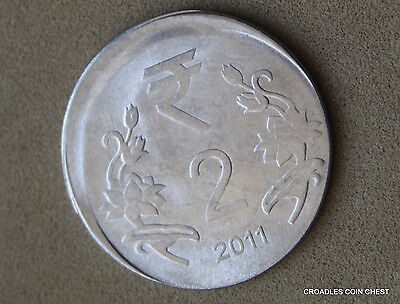 Good Off Centre Misstrike India 2 Rupee 2011 Circulated World Coin  #rgo9