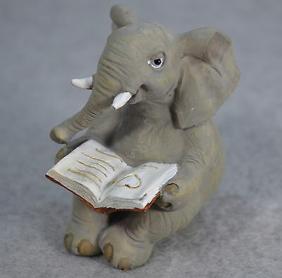 Top Collection Enchanted Story Fairy Garden Elephant Reading Book Figurine #4565