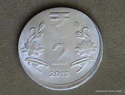 Good Off Centre Misstrike India 2 Rupee 2013 Circulated World Coin  #mco30