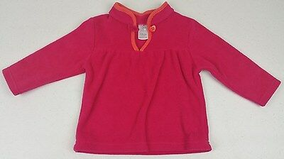 Target Baby Girls Fluffy Pink Jumper with Heart Button - Size: 6-12 Months